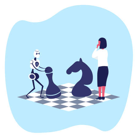 Human vs artificial intelligence business woman playing chess with modern robot vector illustration Vettoriali
