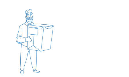 Courier man hold box delivery package post service concept horizontal sketch doodle vector illustration