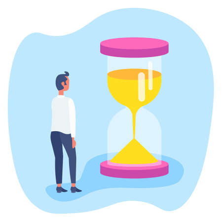 businessman standing at sand watch time management concept business man brainstorming flat vector illustration
