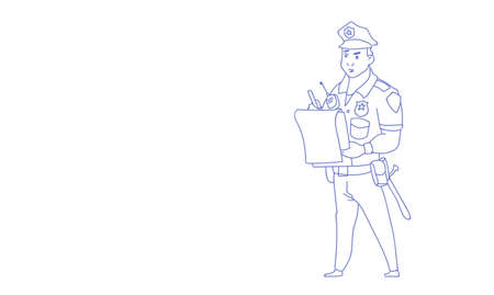 Policeman writing report wearing uniform cop guard sketch doodle horizontal vector illustration