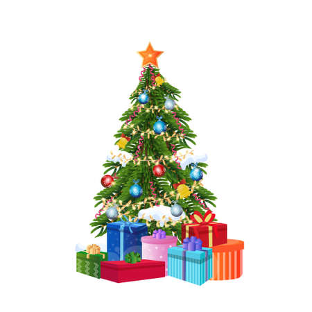 decorated gift box new year christmas tree concept isolated flat vector illustration Векторная Иллюстрация