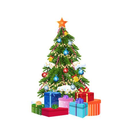 scatola regalo decorata concetto di albero di natale di capodanno isolato illustrazione vettoriale piatta Vettoriali