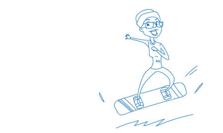 snowboarder girl riding snowboard winter vacation hobby concept sportswoman activities female character full length horizontal sketch doodle vector illustration