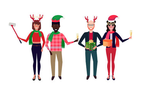 mix race people wearing different costumes standing together happy new year merry christmas celebration concept flat isolated full length horizontal vector illustration