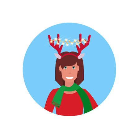 woman wearing deer horns merry christmas happy new year concept face avatar portrait isolated vector illustration