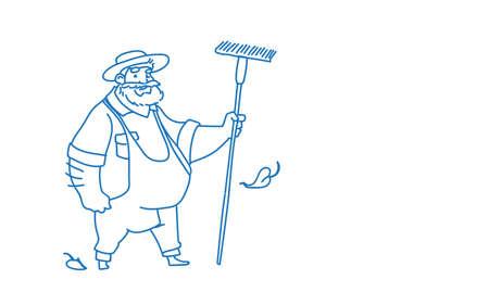 Farmer hold rake country man full length eco farming concept sketch doodle horizontal vector illustration
