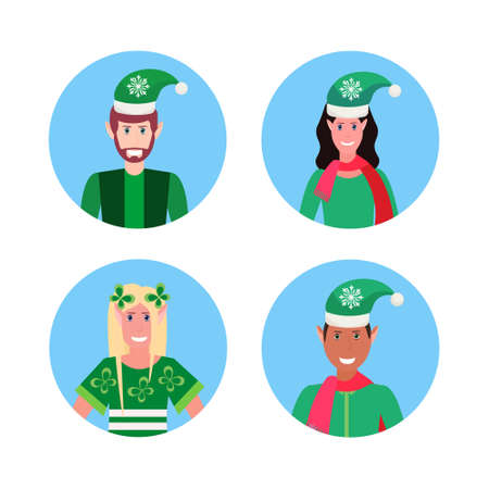 set mix race man woman christmas elf santa helper concept different face avatar portrait collection male female cartoon character isolated vector illustration