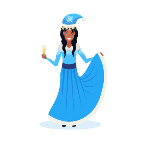 african american woman holding glass champagne wearing blue dress happy new year merry christmas concept flat female cartoon character isolated full length vector illustration