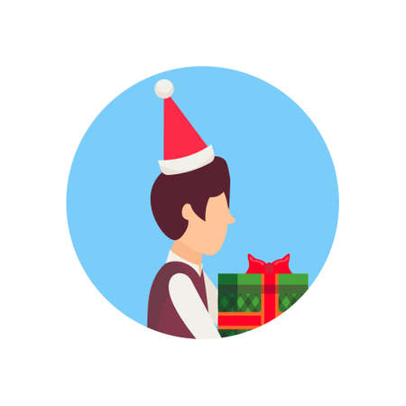 boy wearing hat holding gift box happy new year merry christmas concept male face avatar profile cartoon character portrait isolated vector illustration