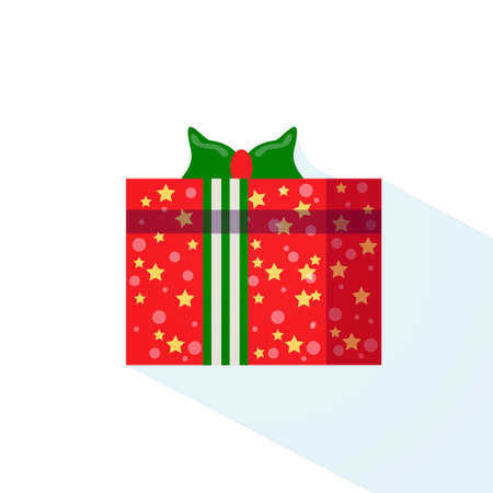 gift box wrapped ribbon holiday present isolated flat vector illustration