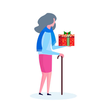 senior woman with stick holding gift box happy new year merry christmas concept female cartoon character profile full length isolated vector illustration
