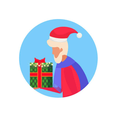 senior man holding gift box happy new year merry christmas concept male face avatar profile cartoon character portrait isolated vector illustration Illustration