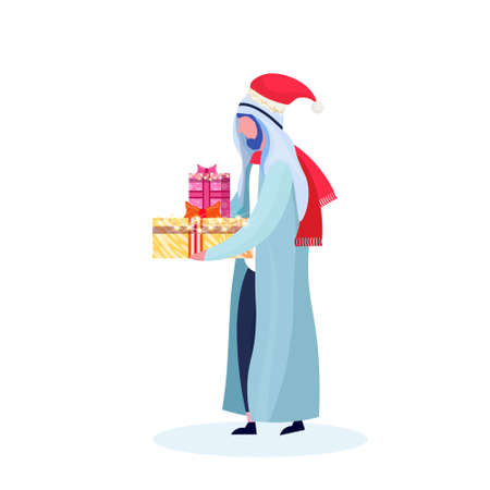 arab man traditional clothes holding gift box happy new year merry christmas concept arabic male cartoon character profile full length isolated vector illustration