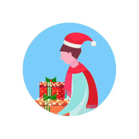 man wearing hat holding gift box happy new year merry christmas concept male face avatar profile cartoon character portrait isolated vector illustration