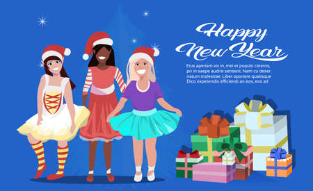 mix race girls wearing dress red hat happy new year merry christmas concept flat gift box decoration blue background full length copy space horizontal vector illustration Illustration
