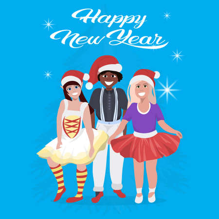 mix race people wearing red hat happy new year merry christmas concept flat blue background full length vector illustration