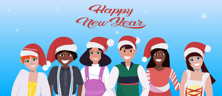 mix race people group wearing red hat happy new year merry christmas concept flat blue background portrait horizontal vector illustration