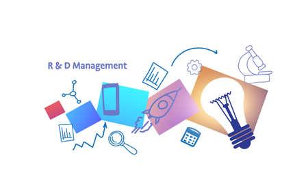research and development r&d management concept innovation creative idea light lamp sketch doodle horizontal vector illustration