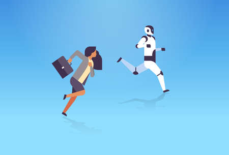 business woman and robot running artificial intelligence technology competition concept flat horizontal vector illustration Ilustração