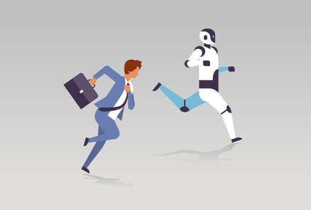business man and robot running artificial intelligence technology competition concept flat horizontal vector illustration
