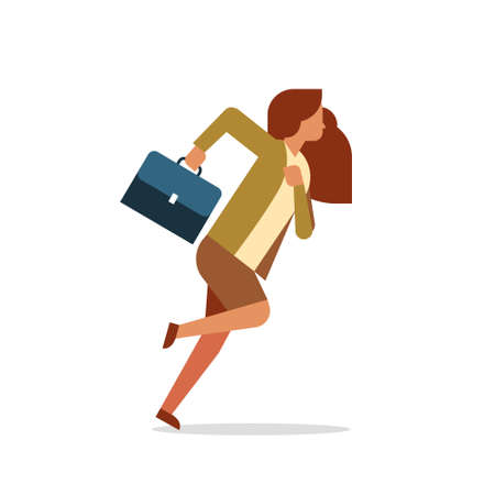 businesswoman running hold briefcase female office worker business woman cartoon character full length flat isolated vector illustration Vector Illustration