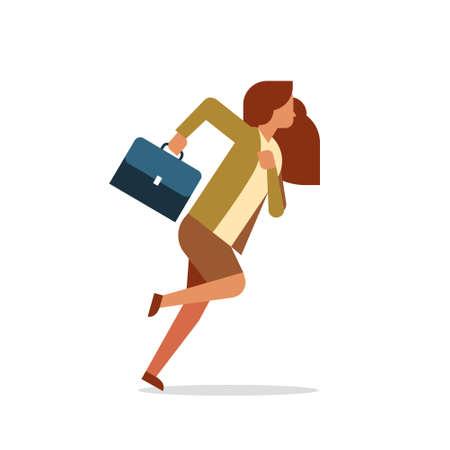 Businesswoman running tenir porte-documents femme employé de bureau femme d'affaires personnage de dessin animé télévision pleine longueur isolé illustration vectorielle Vecteurs