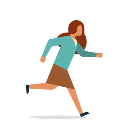 businesswoman running female office worker business woman cartoon character full length flat isolated vector illustration
