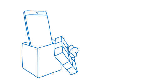 smartphone present in gift box holiday surprise concept sketch doodle horizontal vector illustration