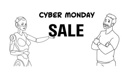 cyber monday sale female robot with man communication concept artificial intelligence assistance sketch doodle horizontal vector illustration