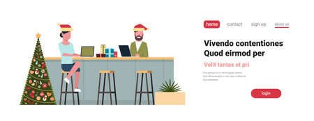 couple sitting bar counter in modern cafe fir tree decorated happy new year merry christmas holiday concept flat isolated copy space horizontal vector illustration Illustration