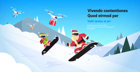 couple santa claus with elf doing jump on snowboard happy new year merry christmas celebration concept flat snow mountains slopes horizontal copy space vector illustration Stock Illustratie
