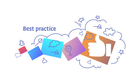successful strategy best practice concept sketch doodle horizontal vector illustration Illustration