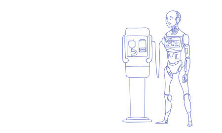modern robot charging battery futuristic artificial intelligence technology concept sketch doodle horizontal vector illustration