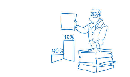 senior businessman stacked paper document paperwork hold contract sign sketch doodle horizontal vector illustration Illustration