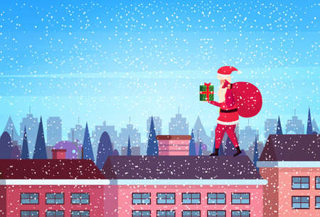 santa hold gift box stand on roof city building houses winter street cityscape background merry christmas happy new year concept flat horizontal vector illustration Ilustracja