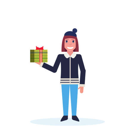 woman holding present gift box happy new year merry christmas concept female cartoon character full length isolated vector illustration