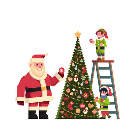 santa claus with elves on staircase decorate fir tree merry christmas happy new year concept flat isolated vector illustration