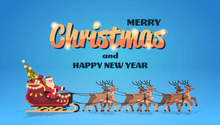 Santa claus in sleigh with reindeers merry christmas happy new year greeting card winter holidays concept horizontal flat vector illustration Illustration