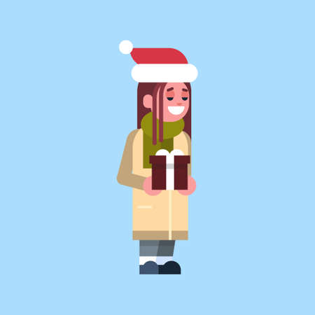 girl santa red hat hold gift box present merry christmas holiday happy new year concept female cartoon character full length flat vector illustration