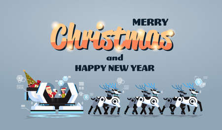 Santa with elf in robotic modern sleigh with robot reindeers artificial intelligence merry christmas happy new year greeting card winter holidays concept horizontal flat vector illustration
