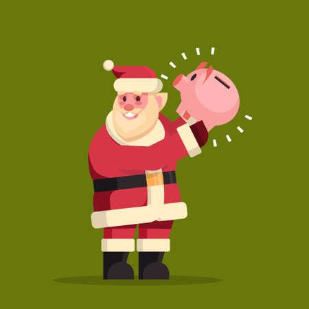 santa claus hold piggy bank money savings merry christmas holiday new year concept flat vector illustration