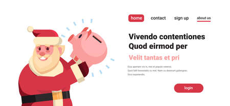 santa claus hold piggy bank money savings merry christmas holiday new year concept flat horizontal isolated copy space vector illustration