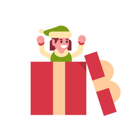 girl elf santa claus helper in gift box present merry christmas holiday happy new year concept female cartoon character full length flat vector illustration