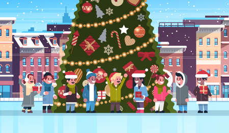 mix race children group near decorated fir tree city building houses winter street cityscape merry christmas happy new year concept flat horizontal vector illustration