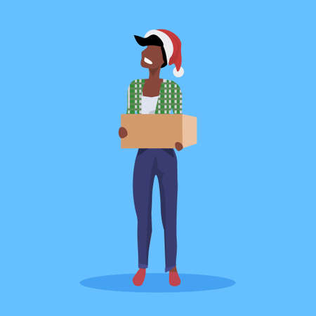 african american woman wearing red hat holding paper parcel gift box new year merry christmas concept female cartoon character full length blue background flat vector illustration