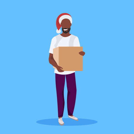african american man wearing red hat holding paper parcel gift box new year merry christmas concept female cartoon character full length blue background flat vector illustration Ilustração