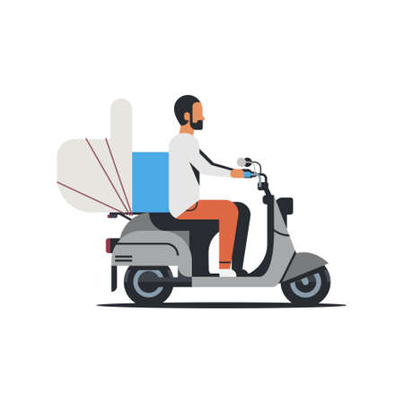 african american man riding scooter with thumb up like icon lovely feedback concept isolated flat vector illustration