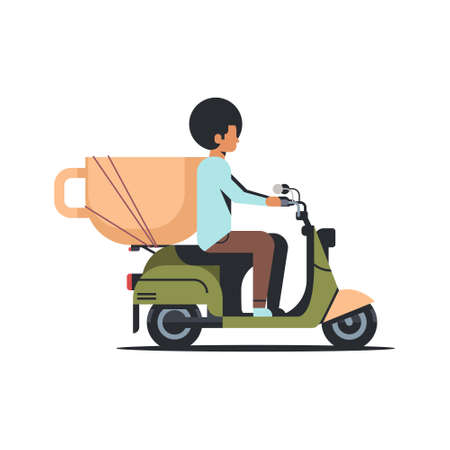 african american man riding scooter with coffee cup break breakfast drink beverage concept isolated flat vector illustration