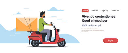 businessman riding scooter with envelope email message paper letter communication concept isolated flat horizontal copy space vector illustration Standard-Bild - 111963938