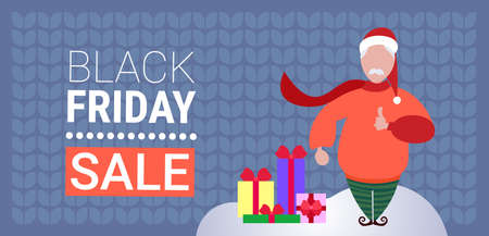 santa claus near gift boxes present black friday sale special offer concept male cartoon character flat horizontal vector illustration
